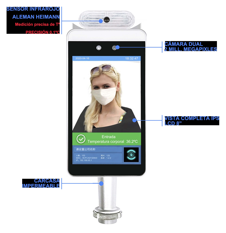 Tablet con cámara termica control de acceso coronavirus